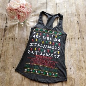 Stranger Things Merry Christmas Tank Top- Small